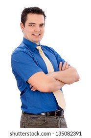 Confident handsome business man in blue shirt with white background.