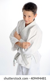 Confident handsome little karate boy portrait