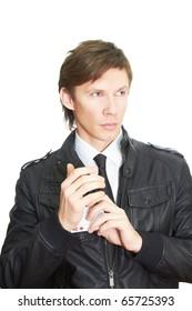 Confident handsome poker player