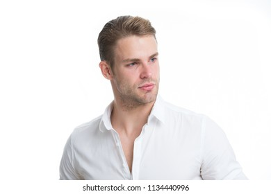 Confident in his appearance. Man bristle serious face handsome isolated white. Man beard unshaven guy looks handsome confident. Handsome in style. Guy bearded confident cares about appearance.