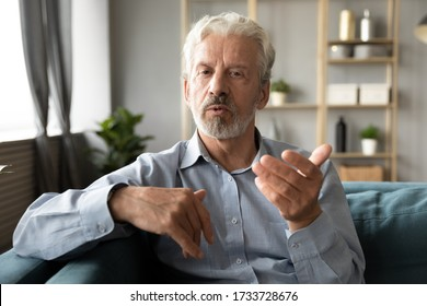 Confident hoary middle aged handsome man looking at camera, holding business talk with clients partners online. Web camera view mature senior grandfather chatting with friends family via video call. - Shutterstock ID 1733728676