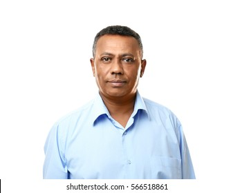 Confident Indian teacher on white background
