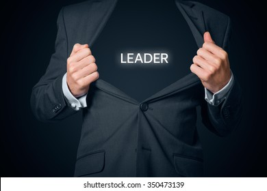 Confident leader, CEO and leadership concept. Boastful manager with opened suit and text leader instead body.