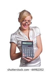Confident looking young woman, holding calculator and smiling. Isolated on white