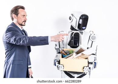 Confident man indicating place for carton cyborg keeping