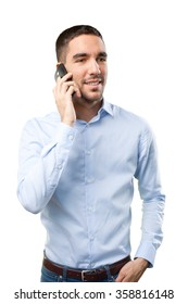 Confident man using a mobile phone
