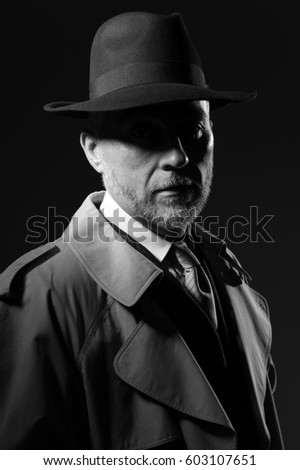 8a618be3a801a Confident Man Wearing Fedora Hat Trench Stock Photo (Edit Now ...