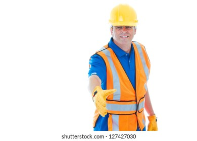 Confident mature male construction worker gesturing handshake isolated on white with copy space.