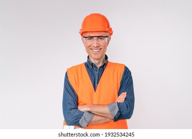 Confident mature white builder in special uniform isolated over white background