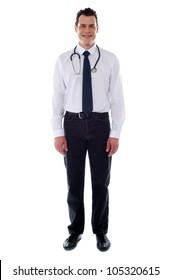Confident medical male representative isolated over white background. Full length shot