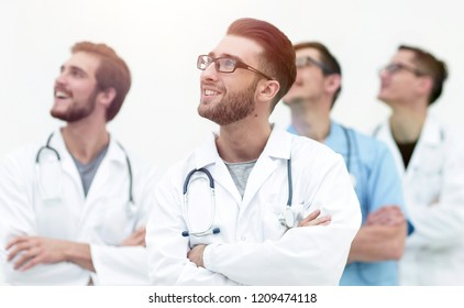 confident medical team looking at copy space