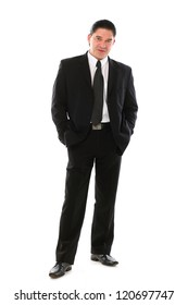 Confident mid aged man in suit posing in studio over a white background