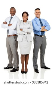 confident multiracial business group arms crossed