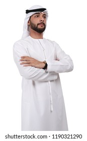 confident proud Arab Emirati business man standing on white.