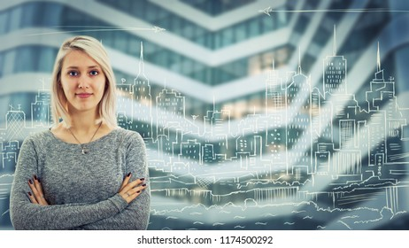 Confident serious woman with crossed arms over a urbanistic project of a big city. Megalopolis panorama, architect future planning modern building background.
