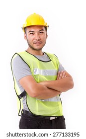 confident, strong construction worker crossing his arms on white background