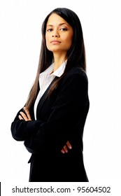 confident successful businesswoman isolated on white