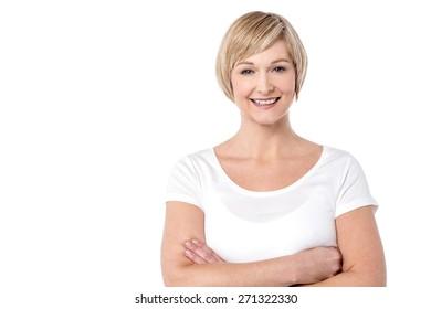 Confident woman posing casually to camera