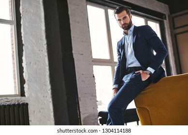Confident young bearded brunet in elegant suit is looking at camera
