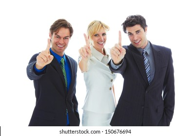 Confident Young Business Team giving number one hand sign isolated on white background.