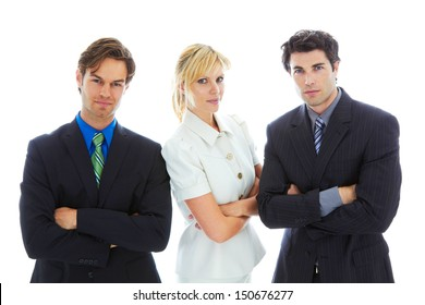 Confident Young Business Team isolated on white background.