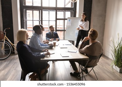 Confident young businesswoman manager coach mentor give whiteboard presentation at business meeting training, female boss leader consulting diverse employees clients during marketing workshop concept