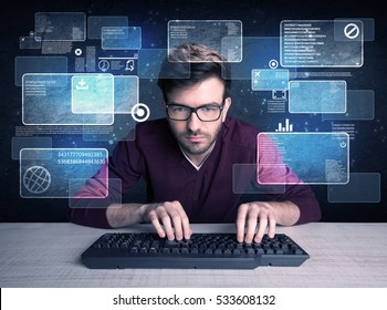 A confident young hacker working hard on solving online password codes concept with a computer keyboard and illustrated digital screen, numbers in the background