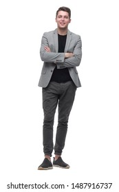 confident young man. isolated on grey background