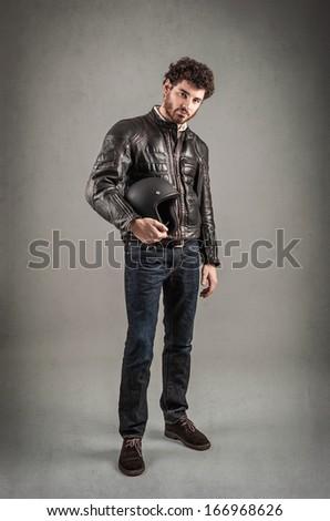 Confident Young Man Portrait Leather Jacket Stock Photo Edit Now