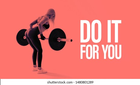 Confident young woman doing weight lifting workout at gym turning back Attractive young woman bodybuilder lifting barbells looking focused Horizontal black and white concept photo.