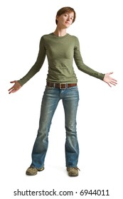 A confident young woman wearing blue jeans and a green shirt isolated against a white background.