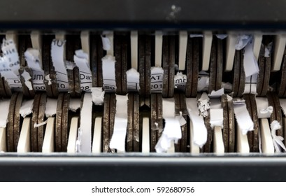 The confidential document stuck in paper shredder.