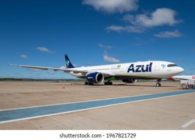 Confins, Minas Gerais, Brazil - 05-01-2020: Colorful planes of the airline AZUL Brazil