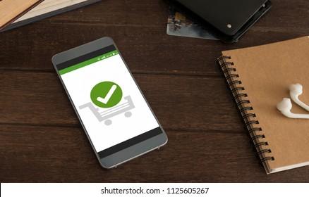 Confirmed Smartphone Order Success, Online Payment Concept.