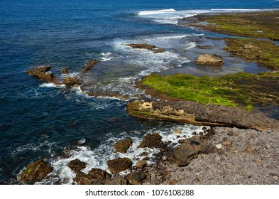 The confital, rock beach at low tide, coast of  Las Palmas of Gran canaria, Canary islands
