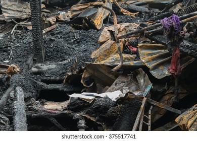 Conflagration fire damaged in summer house after blaze