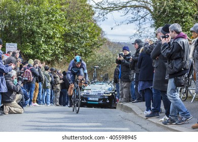 CONFLANS-SAINTE-HONORINE,FRANCE- MARCH 6: The British cyclist Ben Swift of Team Sky riding during the prologue stage of Paris-Nice in Conflans-Sainte-Honorine,on March 6 2016.