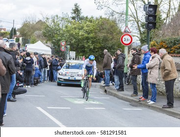 CONFLANS-SAINTE-HONORINE,FRANCE- MARCH 6: The Danish cyclist Magnus Cort Nielsen of OricaGreenEDGE Team riding during the prologue stage of Paris-Nice in Conflans-Sainte-Honorine,on March 6 2016.