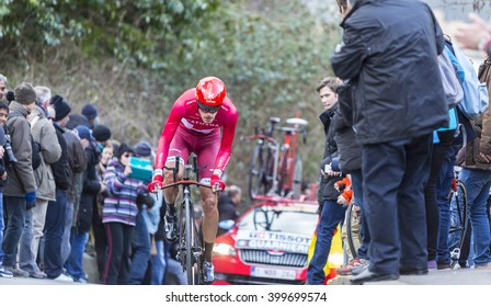 CONFLANS-SAINTE-HONORINE,FRANCE- MARCH 6: The Italian cyclist Jacopo Guarnieri of Katusha Team riding during the prologue stage of Paris-Nice in Conflans-Sainte-Honorine,on March 6 2016.