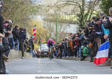 CONFLANS-SAINTE-HONORINE,FRANCE- MARCH 6:  The Italian cyclist Matteo Bono of Lampre-Merida Team riding during the prologue stage of Paris-Nice in Conflans-Sainte-Honorine,on March 6 2016.
