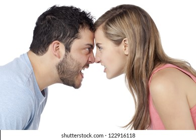 Conflict between Man and Woman isolated on