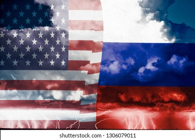 Conflict between USA and russia, conceptuall image witth a sea thunderstorm and the flag of russia and usa, ongoing conflict   between the two country