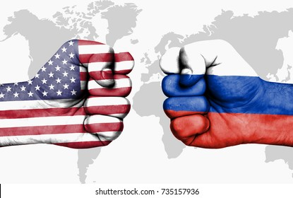 Conflict between USA and Russia, male fists - governments conflict concept