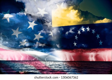 Conflict between USA and Venezuela, conceptuall image witth a sea thunderstorm and the flag of venezuela and usa, ongoing conflic betwenne the two country