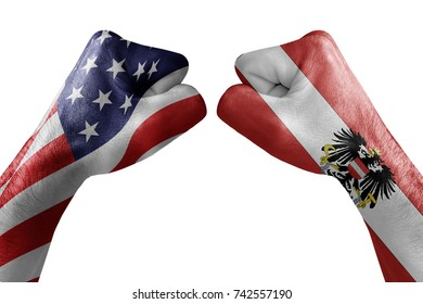 conflict between USA vs Austria, male fists - governments conflict concept,  Flags written on hands USA, USA Flag, USA  counter, fists symbol war