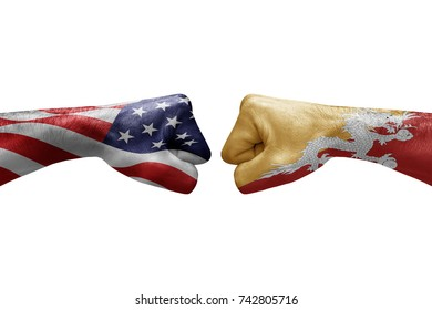 conflict between USA vs Bhutan, male fists - governments conflict concept,  Flags written on hands USA, USA Flag, USA  counter, fists symbol war