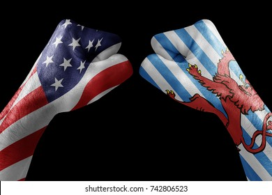 conflict between USA vs Blason Luxembourg, male fists - governments conflict concept,  Flags written on hands USA, USA Flag, USA  counter, fists symbol war