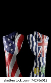 conflict between USA vs British indian ocean territories, male fists - governments conflict concept,  Flags written on hands USA, USA Flag, USA  counter, fists symbol war