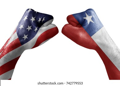 conflict between USA vs Chile, male fists - governments conflict concept,  Flags written on hands USA, USA Flag, USA  counter, fists symbol war
