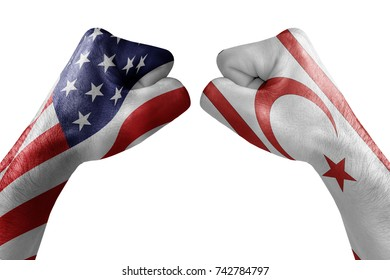 conflict between USA vs Cyprus north, male fists - governments conflict concept,  Flags written on hands USA, USA Flag, USA  counter, fists symbol war